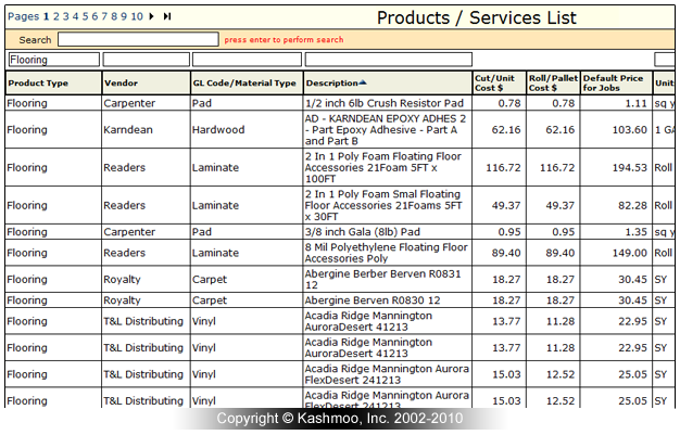Flooring Materials List : Flooring software for products and services flooringsoft